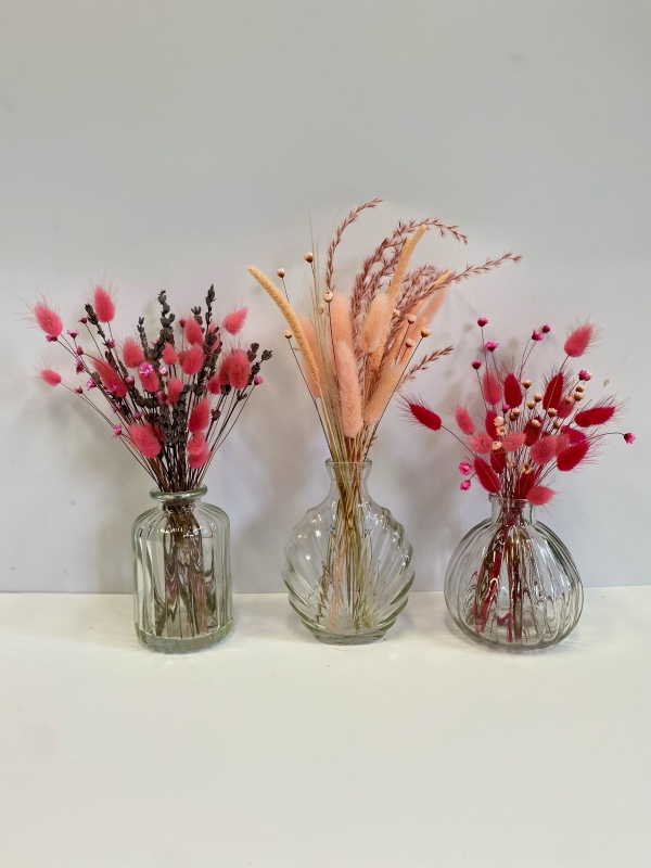 Trio Of Dried Flower Vases
